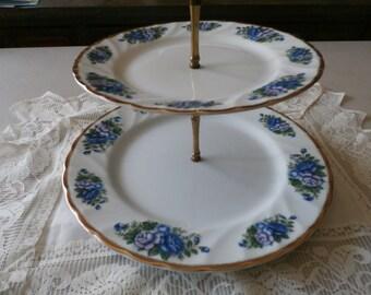 Vintage Robinson Design Group English Garden Floral Tiered China Serving Platter