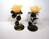 Candle Holders Black Gold Metal Rose Floral Candles Pair