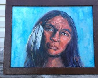 "1 original oil painting ""The Storyteller""- indian portrait"