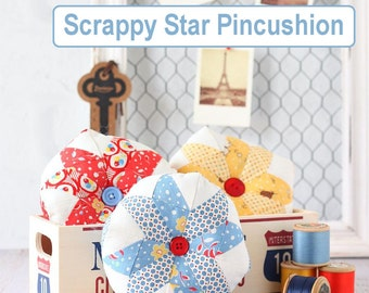 Scrappy Star Pincushion PDF Sewing Pattern