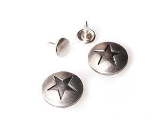 10 sets 17 mm buttons denim   No Sew  jeans tack Metal buttons Antique silver button fastener with manual - Star