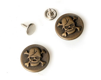 10 sets 20mm buttons No Sew  jeans tack buttons antique gold button fastener with manual - Pirate Crossbond Skull