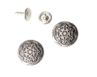 10 sets 17mm buttons denim No Sew jeans tack metal buttons Antique silver button fastener with manual - Frozen
