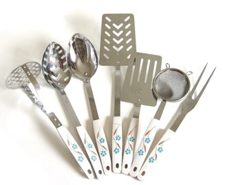 "Japan Kitchen Utensil Set Blue Flowers White Beige 1960s Spatula Strainer Slotted Spoon Potato Masher Meat Fork (as-is, see ""Item Details"")"