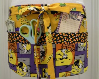 Teacher Crafter Vendor Utility Apron-Vampire Snoopy and the Gang