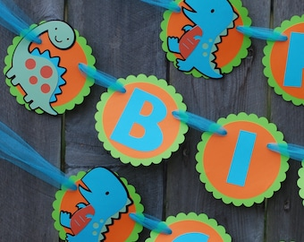 Dinosaur Orange, Blue, and Green Birthday Party Banner, Dino Birthday Banner, Dino Theme