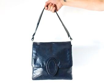 Navy Blue Leather Handbag - Vintahe Elegant Shoulder Bag - Hamilton Made in England