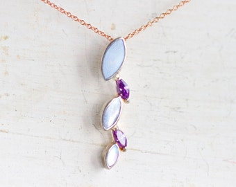 Lilac Purple and Pink - Delicate Sterling Silver short Necklace - Rose Gold plated Chain