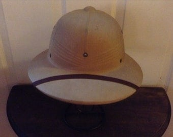 Korean War US Army Tropical Fiber Pith Helmet Hat US Military Gear 1940s