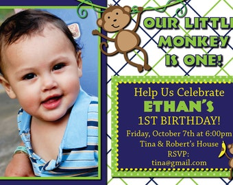 Little Monkey is Turning One, Boys 1st Birthday Monkey Invitation - Digital Invitation-Print From Home, Customizable
