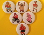 """6 Brand New 1"""" """"Punch Out"""" Button Set"""