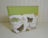 Cosmetic Bag - Stand up Makeup Bag - Medium Toiletries Zipper Pouch - Craft Project Bag - Small Bible Bag - Butterflies - Green Polka Dots