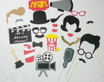Movie Night photo booth props vintage 24 pc