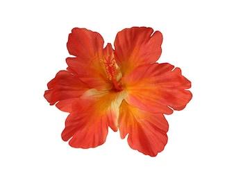 DEBRA Orange Tiki Hibiscus Hair Flower
