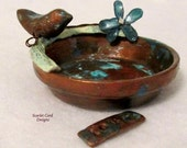 Trinket Dish, Wedding Ring Bowl, Jewelry Holder Patina Copper Clay Bird Decoration Organizer Rustic Bird on a Branch