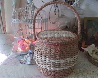Vintage Shabby Chic Pink Dritz Round Sewing Basket
