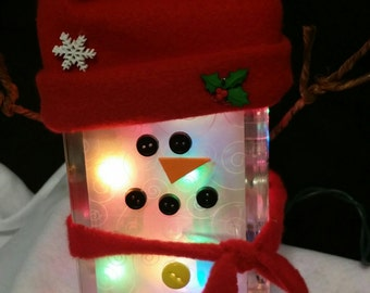 Lighted Glass Block Snowman