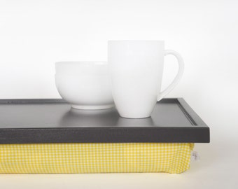 Bed serving tray with pillow, desk with cushion- dark graphite grey with yellow and white check elastic fabric pillow