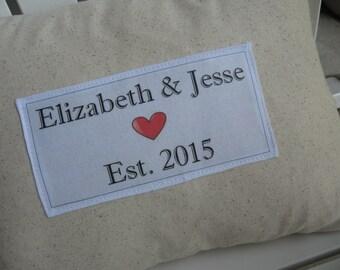 Custom Family Pillow, Wedding, Anniversary, Housewarming Date Pillow, Pillows, Ivory, Abundant Haven