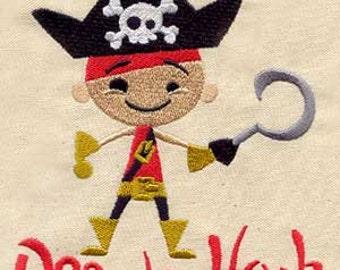 Off Da Hook Pirate Embroidered Flour Sack Hand/Dish Towel