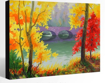 OIL Painting  Giclee Print Canvas Print Fine Art Print of ORIGINAL Painting LANDSCAPE Painting Fall Trees Painting Trees Painting