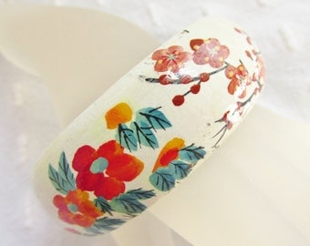 Vintage Hand Painted Wood Wide Bangle White Red Orange Floral