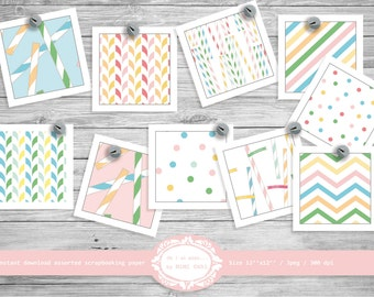 Striped paper straws / 10 scrapbooking digital papers / Pink, blue, yellow and green / instant download printable