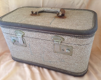 Tweed train case, brown train case