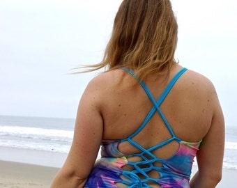 Monterey Tankini Reversible Corset Lace-up Bathing suit top