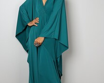 Teal Dress - Teal Kaftan - Kimono Butterfly Dress: Funky Elegant Collection No.1s