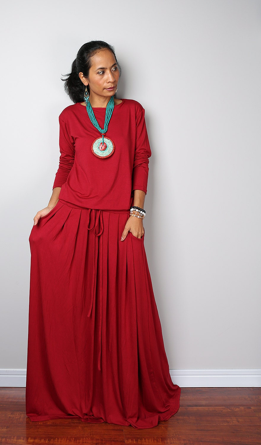 Red Maxi Dress Long Sleeve Wine Red dress : MODEST