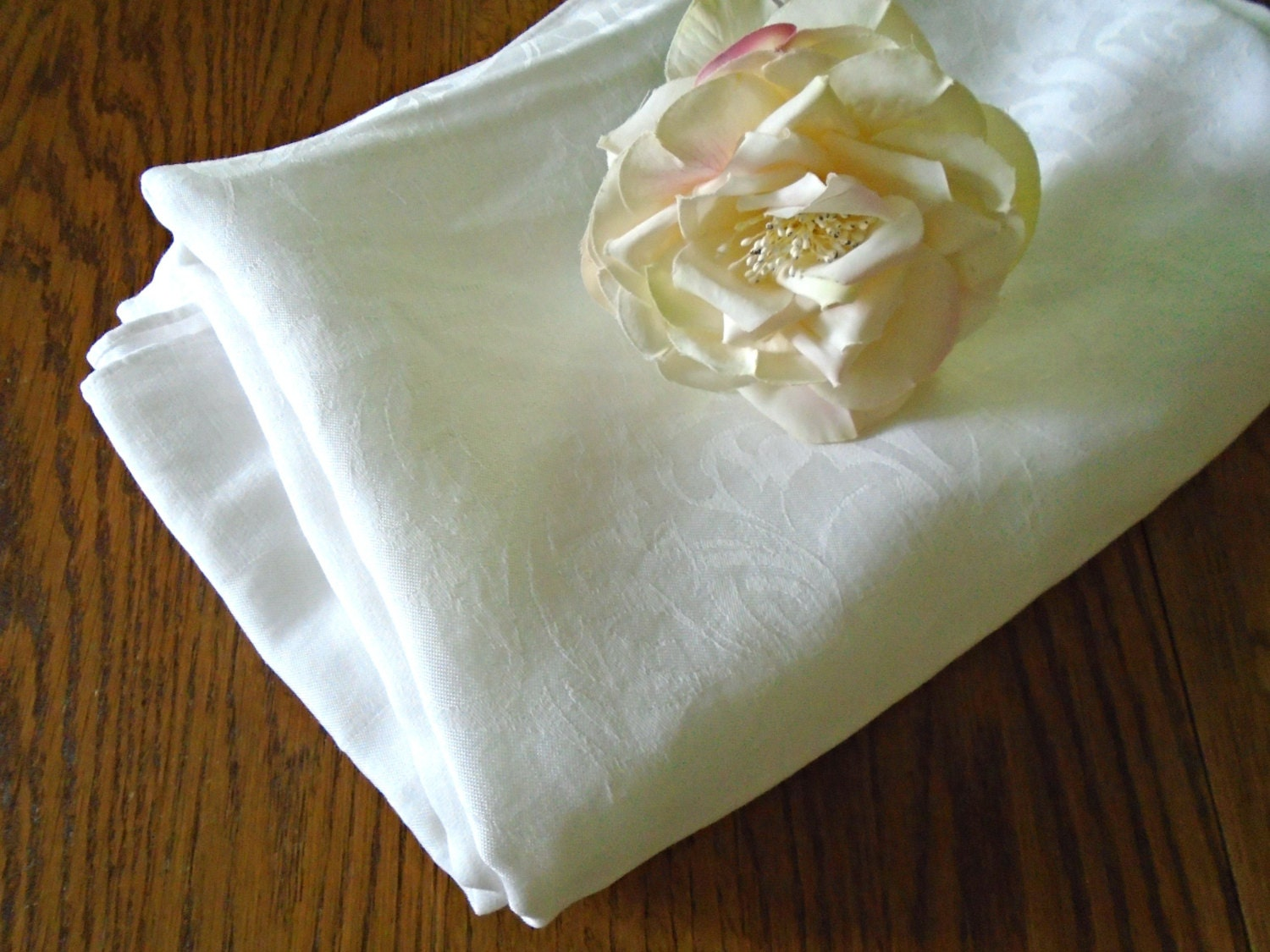 Vintage cotton tablecloth white cotton damask oblong for White cotton table cloth