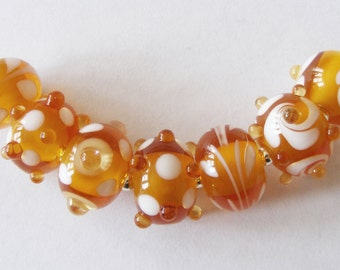 7 Handmade Lampwork Glass Beads - Amber/White