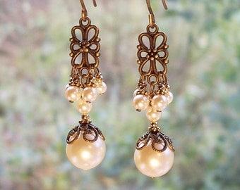 Brass Filigree Pearl Earrings