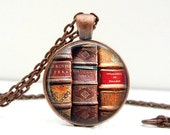 Book Necklace - Book Jewelry - Librarian Pendant - Book Lover Necklace - Literary Jewelry - Library Book Jewelry - Custom Jewelry - Handmade