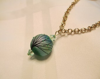 Lampwork Bead Pendant Necklace in Light Green and Aqua