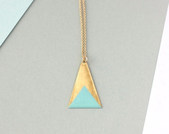 Long Brass Triangle Necklace (Blue) - Modern Handmade Jewellery