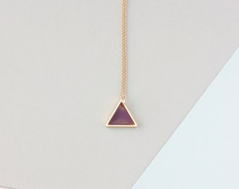 Mini Two Triangle Necklace (Gold - Purple) - Modern Handmade Jewellery
