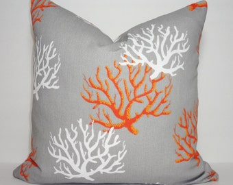 OUTDOOR Grey Orange & White Coral Print Pillow Cushion Covers Orange Coral Decorative Porch 18x18