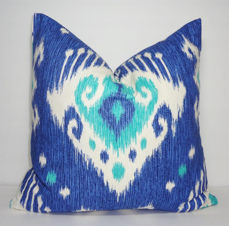 Decorative Blue Ikat Pillow Cover Blue Amp White Ikat Print