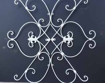 Scrolly Ornate Metal Fluer De Lis Wall Hanging Large Outdoor Patio Decor