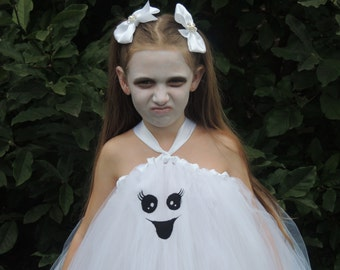 The Hair Bow Factory White Ghost Halloween Tutu Dress Size 12-24 Months to Size 14