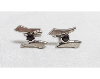 Vintage 1960s Silver & Grey Stone Cuff Links