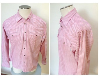 Vintage 1970s Lee Cooper Western Striped Red & White Striped Shirt - L