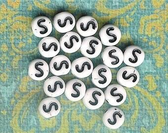 Letter S-6mm Precosia White Czech Glass Letter Beads-50pc