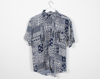 Vintage Silk Blouse Navy Blue Bandana Print Button Down Shirt Draped 1980s Top Paisley Patchwork Print 80s Boyfriend Shirt M Medium L Large