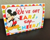 "1 Large 5x7 Mickey Mouse Clubhouse Tent Card - ""We've Got Ears, Say Cheers!"