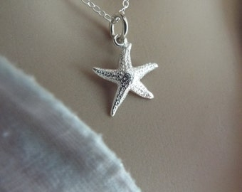 Sterling Silver Starfish Necklace 925 Beach Jewelry Bridesmaid gift sea life ALL STERLING necklace