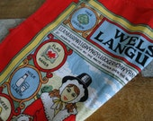 Vintage Linen Tea Towel, The Welsh Language