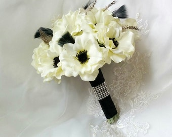 Wedding Silk Ivory Anemones Bridesmaid/MOH Wedding Bouquet accented with Black Ostrich & guinea feathers